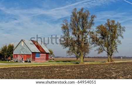 American flag painted on building in rural Illinois - stock photo