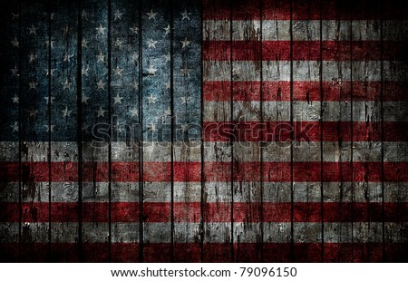 American flag painted on fence background. - stock photo