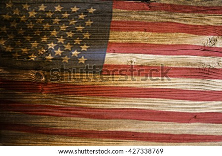 American flag painted on fence retro vintage aged background. USA, United States of America old wood plank backdrop - stock photo