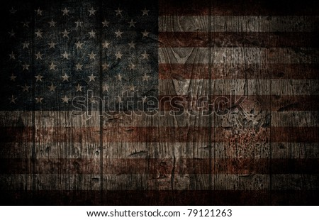 American flag painted on wooden background. - stock photo