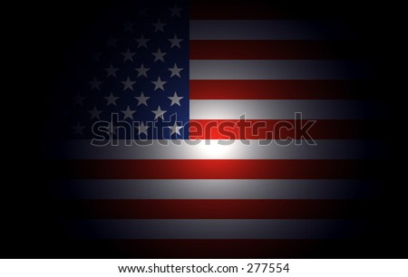 american flag partially lighted - stock photo