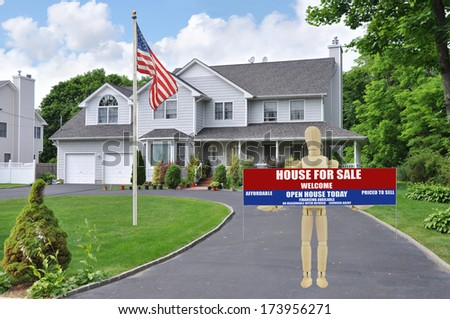 American Flag Pole For Sale Real Estate Sign Open House Welcome held by Adult Wood Mannequin  Curb of Suburban McMansion Style Home Residential Neighborhood USA - stock photo