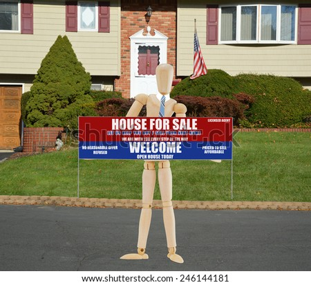 American flag pole Real estate for sale open house welcome sign Suburban High Ranch brick landscaped home with cobble stone curb sunny autumn day residential neighborhood USA - stock photo