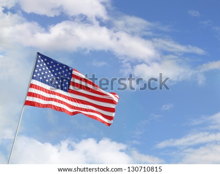 American Flag (Red Blue White Stars and Stripes) Blue Sky clouds