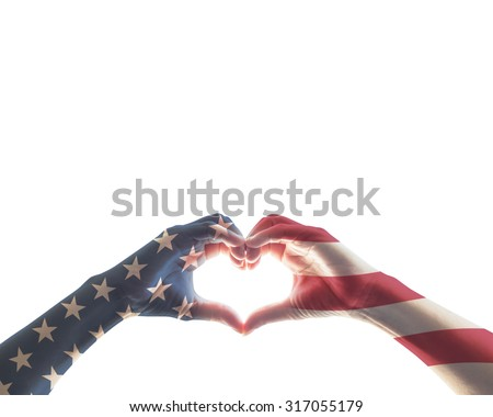 American flag red white blue star pattern on people hands in heart love shape isolated on white background: USA patriot, veterans, independence, Columbus day, constitution and citizenship day concept  - stock photo