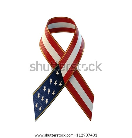 American Flag Ribbon - stock photo