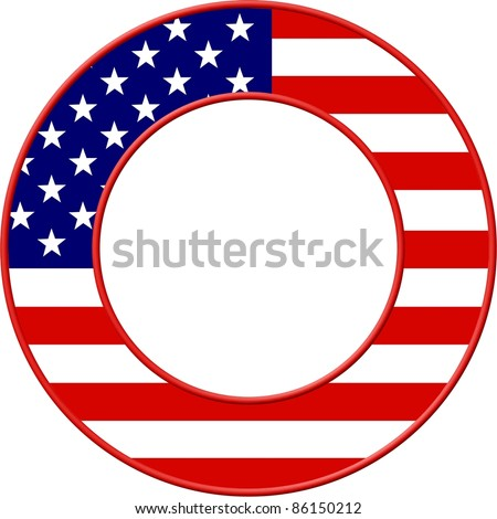 American flag set in a circular picture frame border design. - stock photo