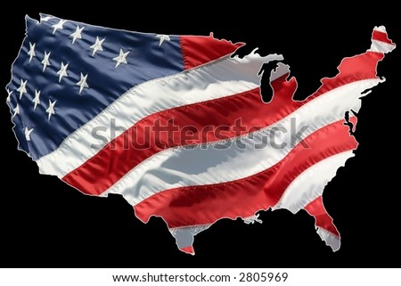 American flag shaped as a map. Lightly outlined in white for easy separation. - stock photo