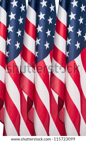 American flag shot by itself on white. - stock photo
