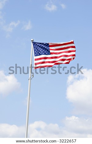 American flag under beautiful sky