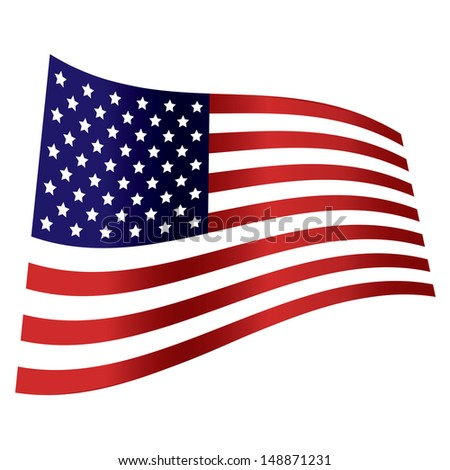 american flag wave independence day - stock photo