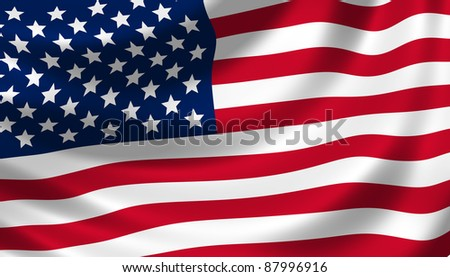 American flag waving in the wind detail - stock photo