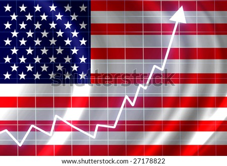 american flag waving in the wind: growth - stock photo
