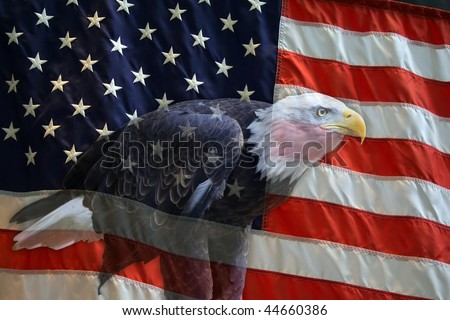 American flag with American Bald Eagle superimposed.
