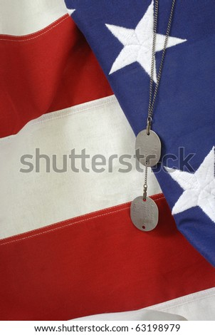 American Flag with Dog Tags - stock photo