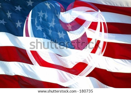 American Flag with Merged Heart