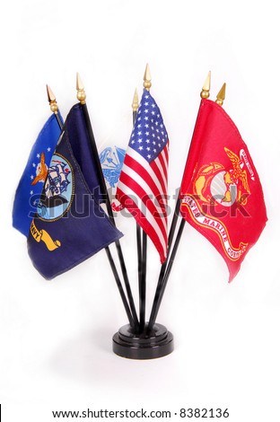 American Flag with military service flags surrounding - stock photo
