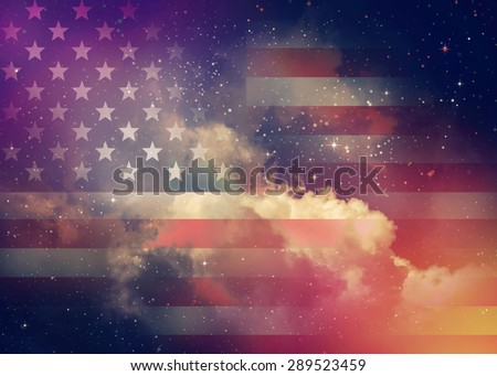 American flag with night sky background. - stock photo