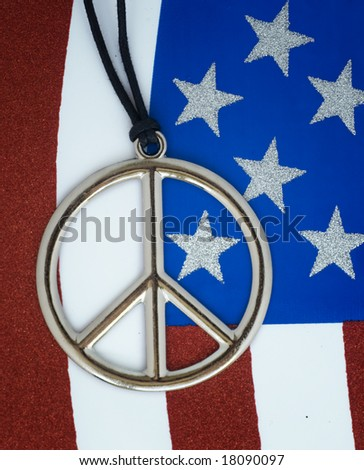 American flag with peace sign - stock photo