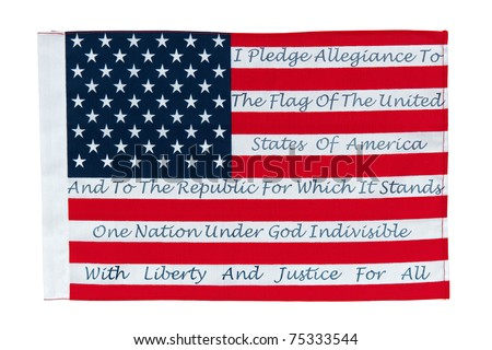 American Flag With The Pledge Of Allegiance Printed On The Stripes - stock photo