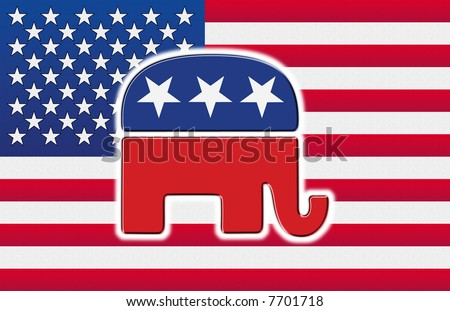 American flag with the republican party's elephant on it - stock photo