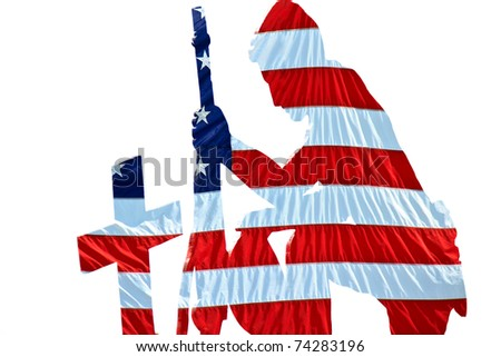 American flag wraps the Silhouette of Solider kneeling at the cross marked grave of a fallen comrade. Clean white background - stock photo