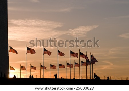 American flags around Washington Monument at sunset, under dramatic sky - stock photo