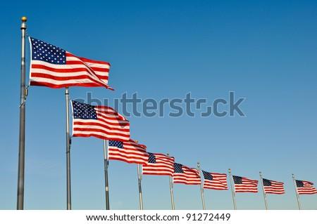 American Flags at Washington Monument - stock photo