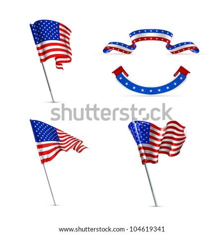 American flags set , bitmap copy - stock photo