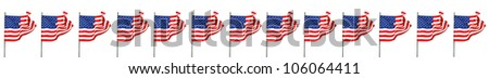 American flags with waving in the wind on white - stock photo