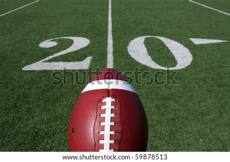 American Football and the Twenty Yard Line - stock photo