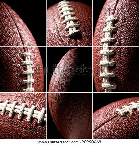 American football ball, collage - stock photo