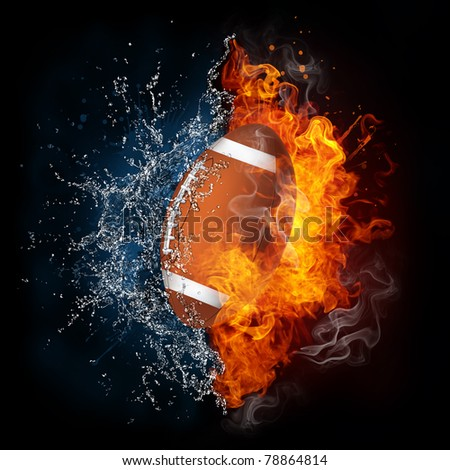 American football ball in fire and water. Illustration of the American football ball in elements isolated on black. American football ball in fire and water image for American football game poster. - stock photo