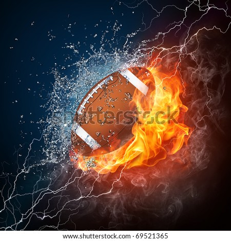 American football ball in fire and water. Illustration of the American football ball in elements on black background. American football ball in fire and water image for American football game poster. - stock photo