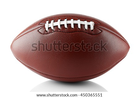 American football ball, isolated on white - stock photo