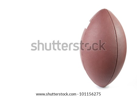 American football ball, white background, copyspace - stock photo