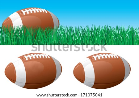 American football. Banner of American football ball on green grass. American football ball isolated on white background