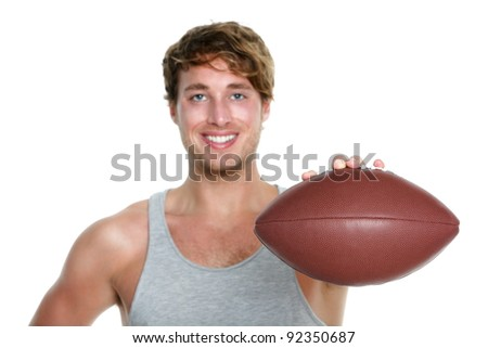 American football - casual man showing american football isolated on white background. Young male sport fitness model isolated on white background. Focus on football. - stock photo