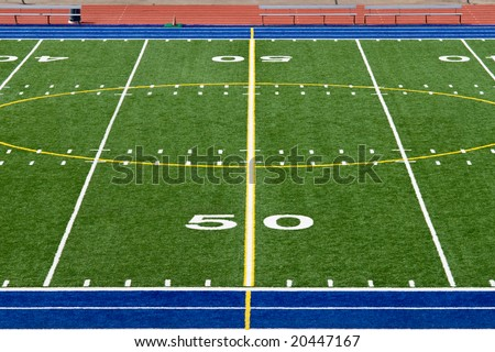American Football Field Fifty Yard Line - stock photo