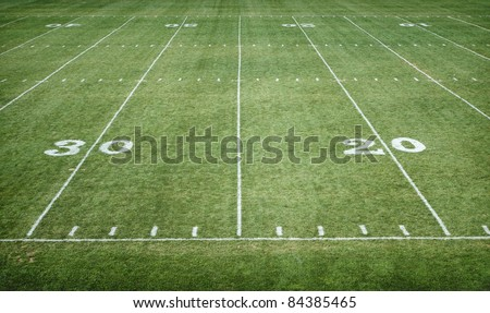 American Football Field horizontal - stock photo