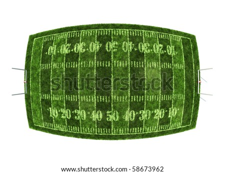 American football field isolated on white background with the fish eye camera effect - stock photo