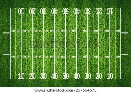 American football field on grass, view from top - stock photo