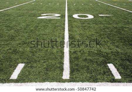 american football field 20 yard line