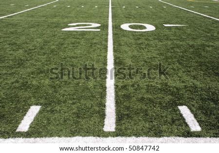 american football field 20 yard line - stock photo