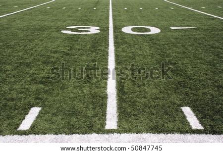 american football field 30 yard line - stock photo