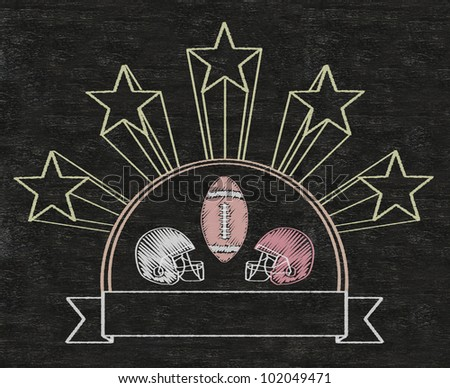 american football five stars vintage blank banner written on blackboard background high resolution, easy to use - stock photo