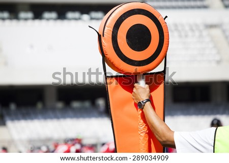 American football game. Sideline markers used in American football games - stock photo
