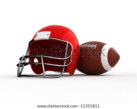 American football. Helmet and ball. Isolated. - stock photo