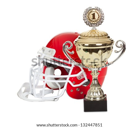 American football helmet and trophy. Isolated on white background - stock photo