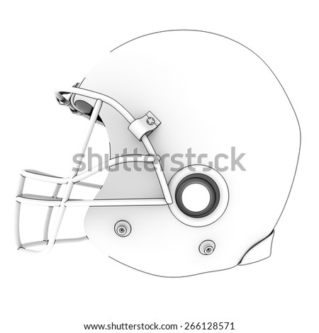 American football helmet isolated on a white background. 3d
